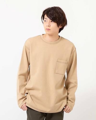 カラーステッチロングTシャツ(ベージュ)