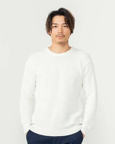 ラーベン編みクルーニット(ホワイト)