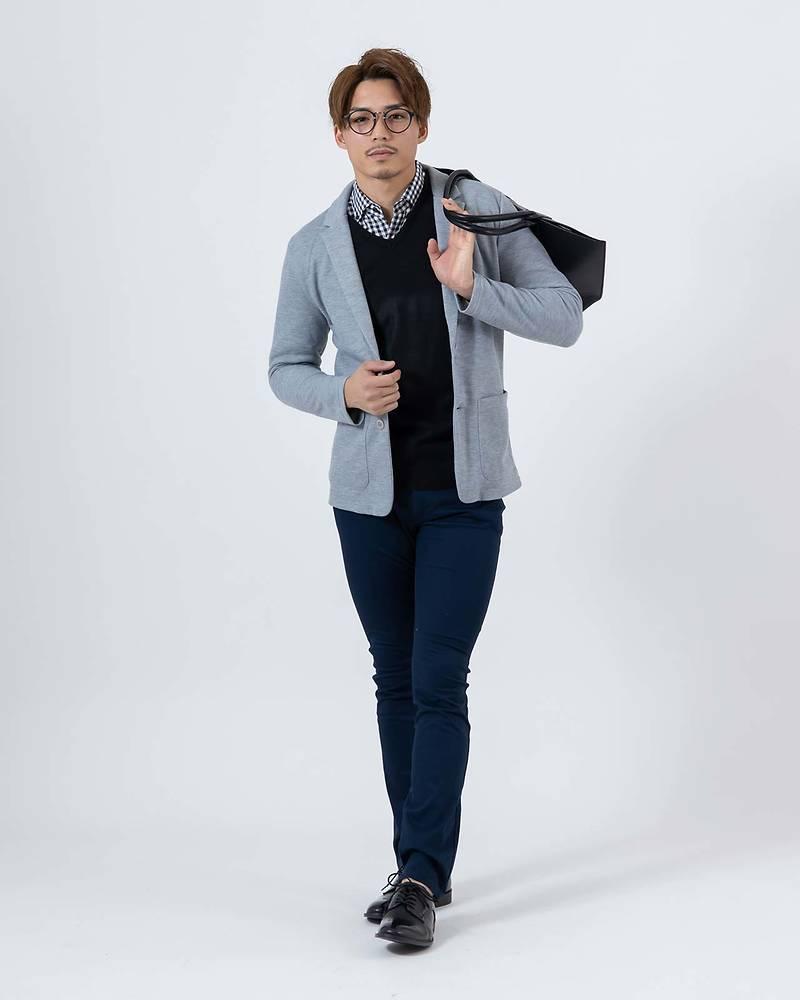 メンズファッションプラス「KOUKI」テーラードジャケット×ニット×長袖シャツ×長袖Tシャツ×パンツ