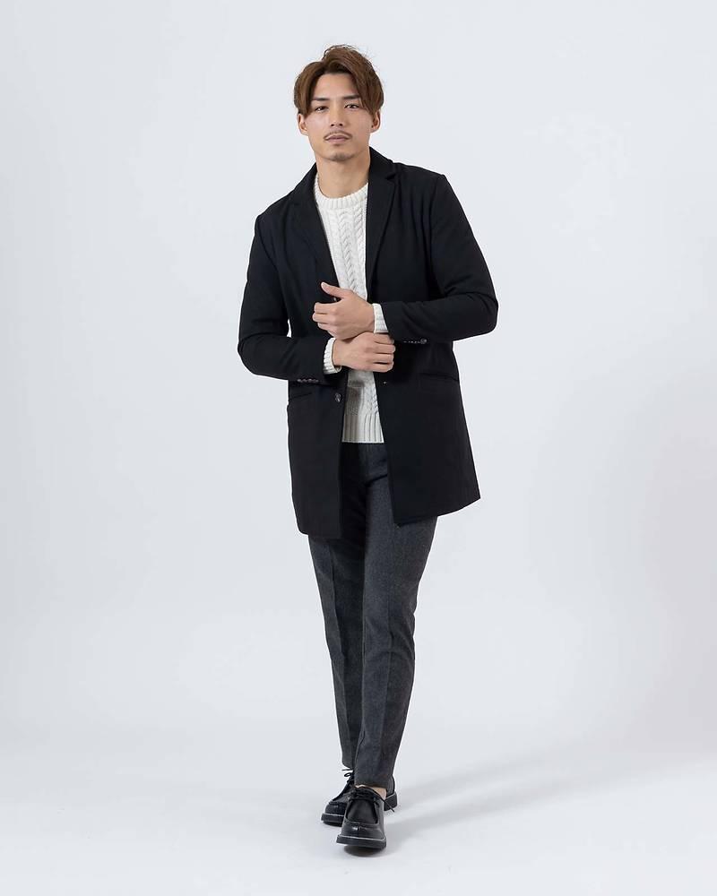 メンズファッションプラス「KOUKI」チェスターコート×ニット×長袖Tシャツ×パンツ