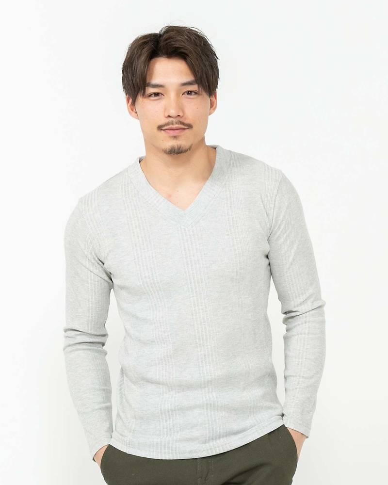 ランダムテレコVネック長袖Tシャツ(ライトグレー)