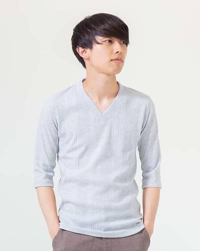ランダムテレコVネック七分袖Tシャツ(ライトグレー)