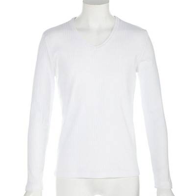 ランダムテレコ長袖Tシャツ(オフホワイト)