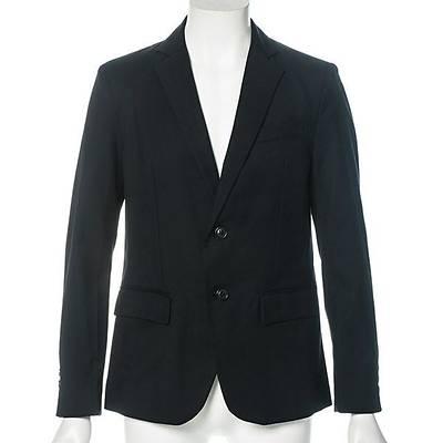 TR素材2つボタン長袖テーラードジャケット(ブラック)