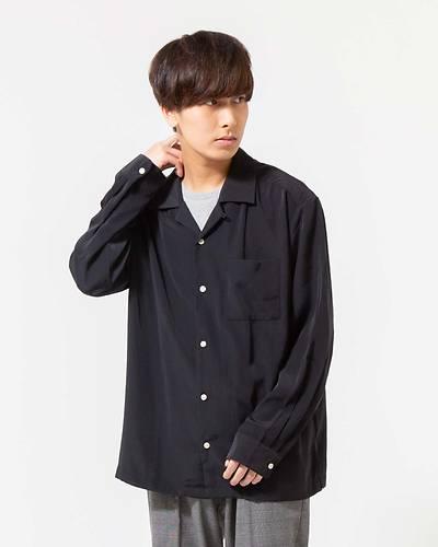 ポリオープンカラーシャツ(ブラック)