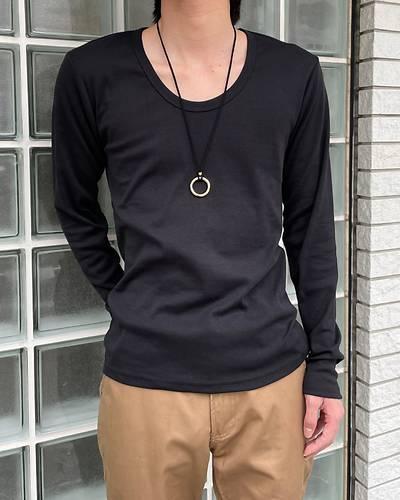 フライスUネック長袖Tシャツ(ブラック)