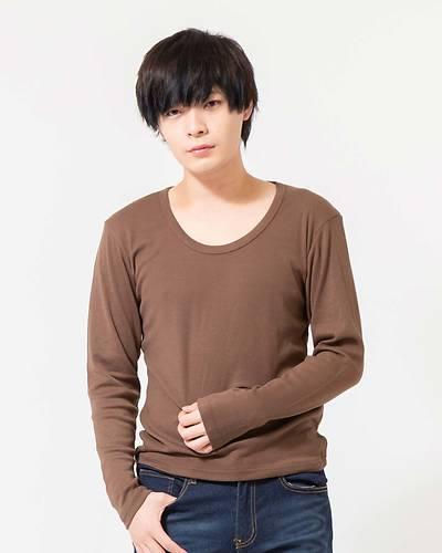 フライスUネック長袖Tシャツ(カーキ)