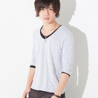 トリッキー杢レイヤード七分袖Tシャツ(ホワイト)