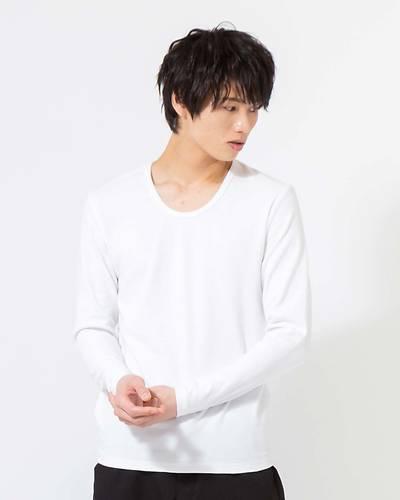 スパンフライスUネック長袖Tシャツ(ホワイト)