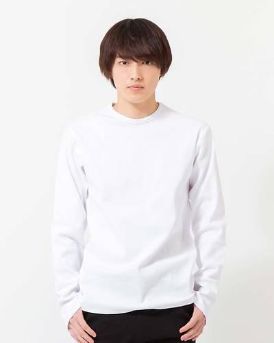 スパンテレコクルーネック長袖Tシャツ(ホワイト)