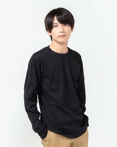 スパンテレコクルーネック長袖Tシャツ(ブラック)