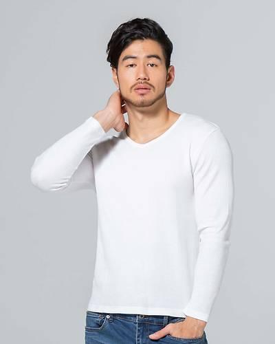 ワッフルVネック長袖Tシャツ(ホワイト)