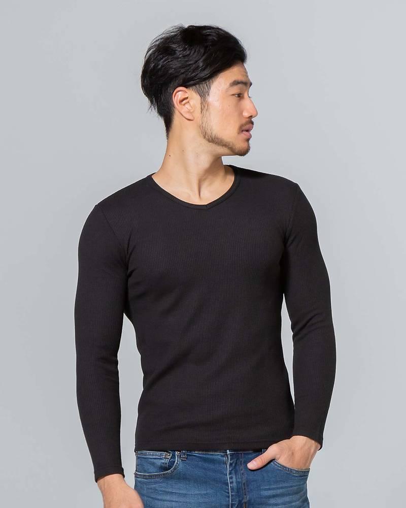 ワッフルVネック長袖Tシャツ(ブラック)