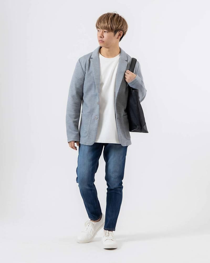メンズファッションプラス「ゆーすけ」テーラードジャケット×長袖Tシャツ×パンツ