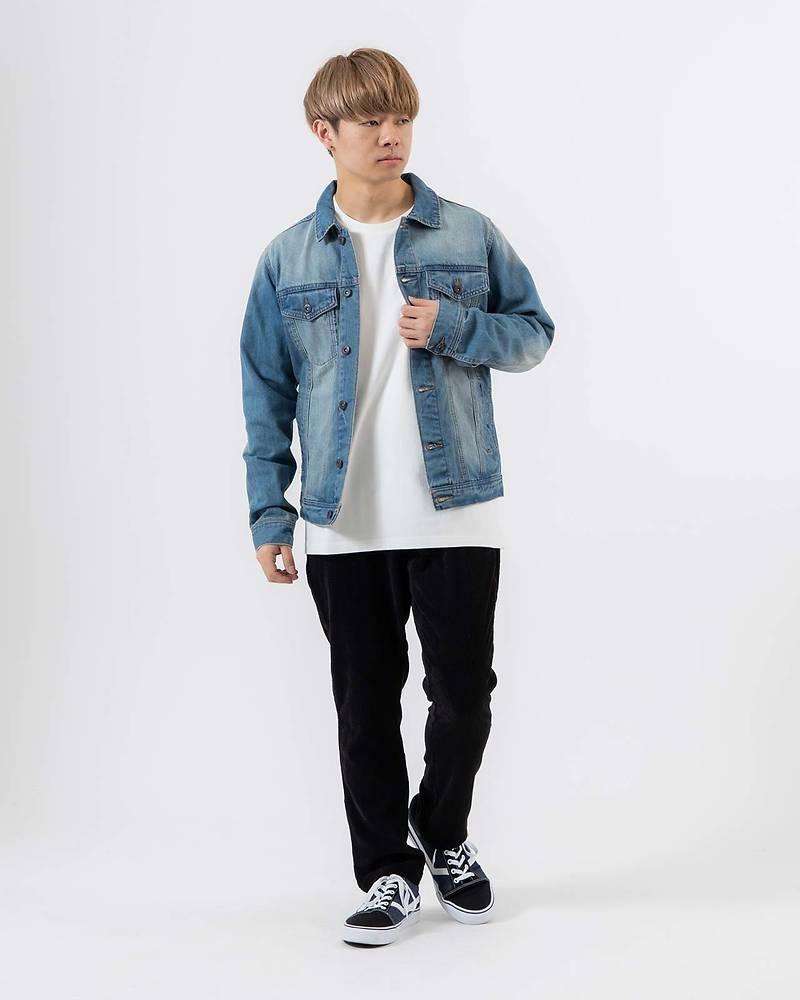 メンズファッションプラス「ゆーすけ」デニムGジャン×長袖Tシャツ×パンツ