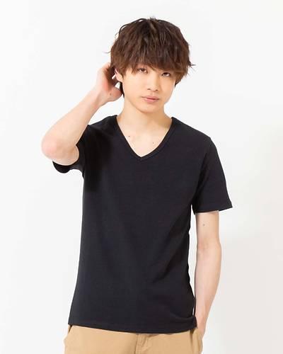 スパンフライスVネック半袖Tシャツ(ブラック)