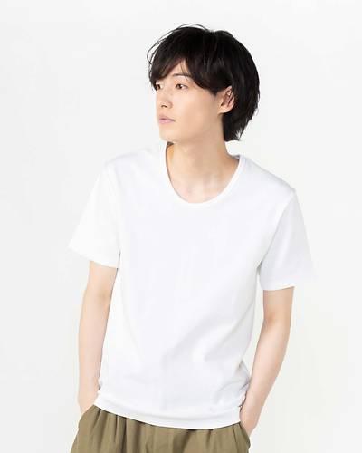 スパンフライスUネック半袖Tシャツ(ホワイト)