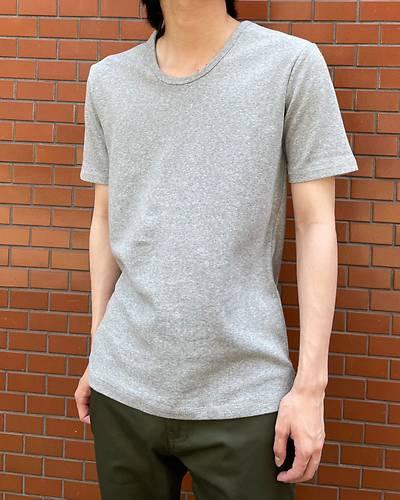 スパンフライスUネック半袖Tシャツ(グレー)
