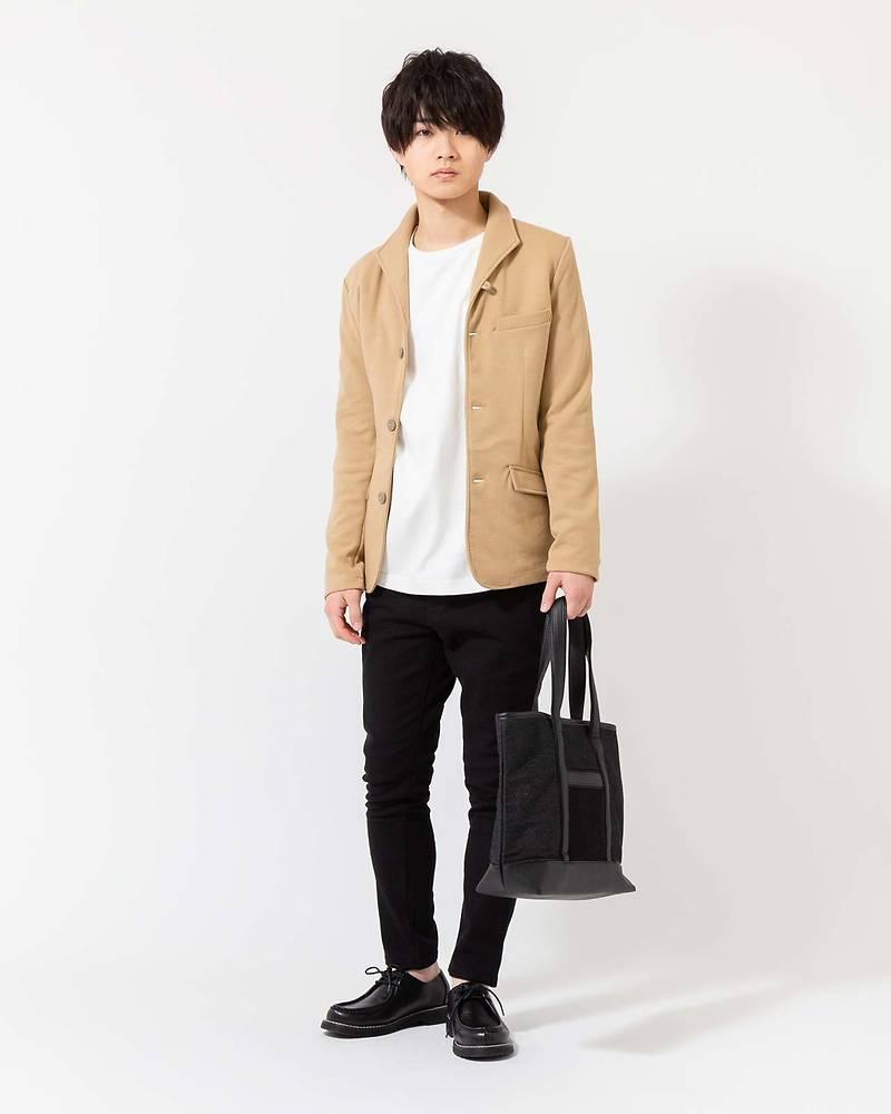 メンズファッションプラス「ひゅうが」テーラードジャケット×長袖Tシャツ×パンツ