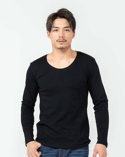 スムス無地Uネック長袖Tシャツ(ブラック)