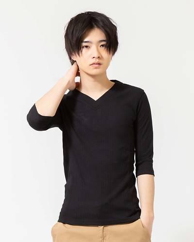 ランダムテレコVネック七分袖Tシャツ(ブラック)