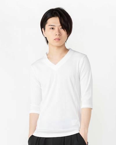 ランダムテレコVネック七分袖Tシャツ(ホワイト)