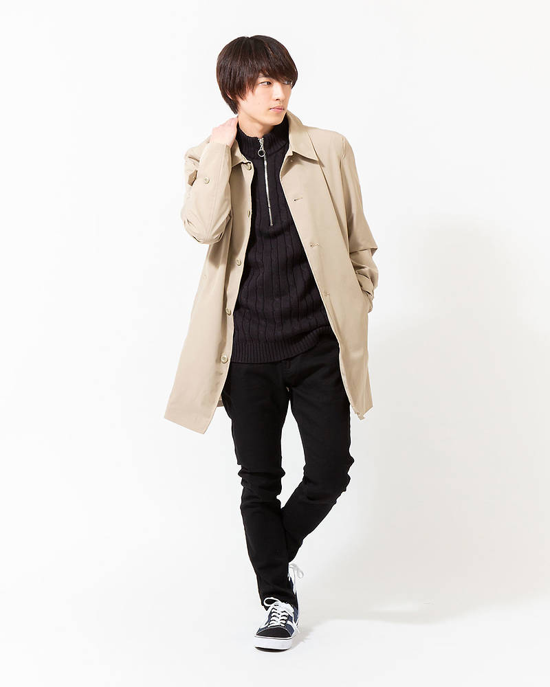 「西村匠」ストレッチステンコート×ZIPセーター×半袖Tシャツ×パンツ