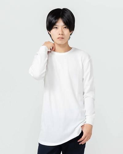 T/Cワッフルトール長袖Tシャツ(ホワイト)