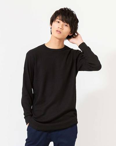 T/Cワッフルトール長袖Tシャツ(ブラック)