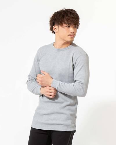 T/Cワッフルトール長袖Tシャツ(グレー)