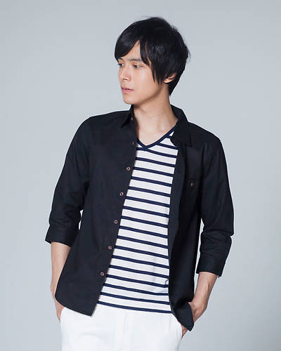 【1品から送料無料】綿麻七分袖シャツ+ボーダー半袖Tシャツアンサンブル(2点セット)(ブラック)