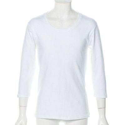 スムス無地七分袖UネックTシャツ(ホワイト)