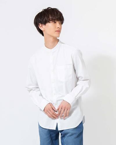 綿麻ストレッチバンドカラー長袖シャツ(ホワイト)