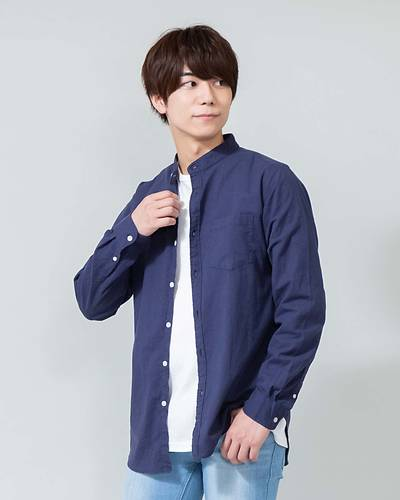 綿麻ストレッチバンドカラー長袖シャツ(ネイビー)