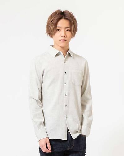 ワッフル素材レギュラー長袖シャツ(グレー)