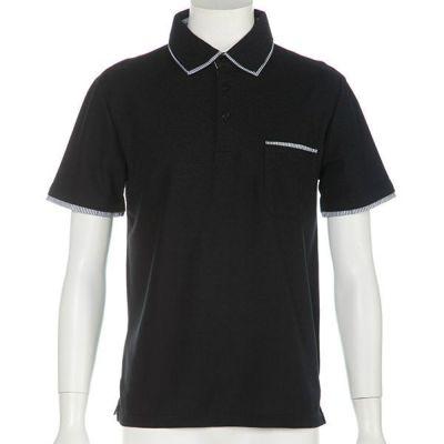 鹿の子W襟半袖ポロシャツ(ブラック)