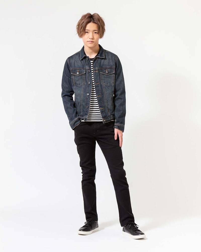メンズファッションプラス「古江侑豊」デニムジャケット×ボーダー長袖Tシャツ×パンツ