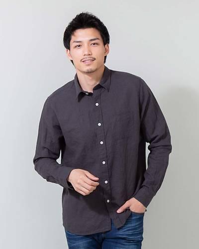 フレンチリネン100長袖シャツ(ブラック)