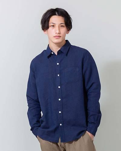 フレンチリネン100長袖シャツ(ネイビー)