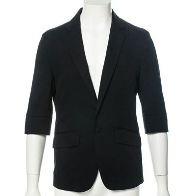 TR素材七分袖テーラードジャケット(ブラック)