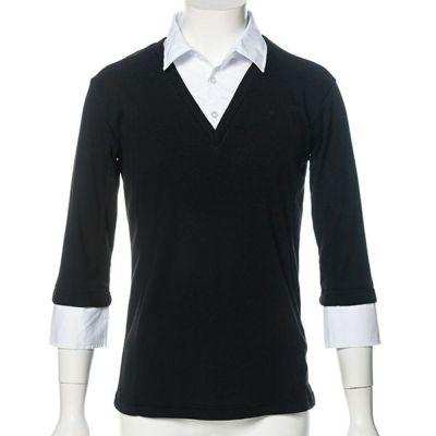七分袖フェイクレイヤードシャツ(ブラック)