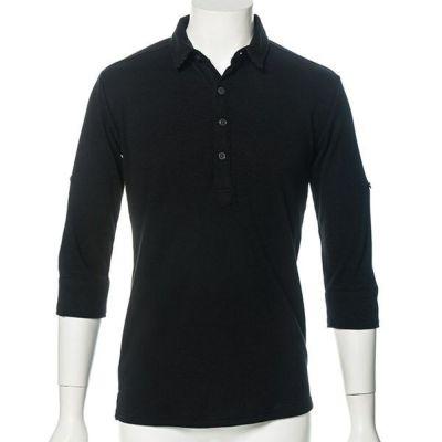 テレコ素材七分袖ポロシャツ(ブラック)