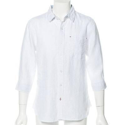 七分袖フレンチリネンシャツ(ホワイト)