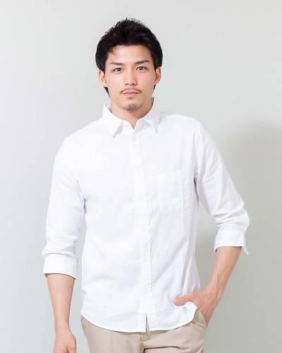 綿麻ストレッチレギュラー七分袖シャツ(ホワイト)