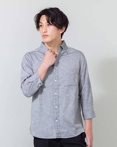 綿麻ストレッチレギュラー七分袖シャツ(グレー)