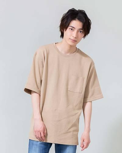 ドロップショルダー五分袖Tシャツ(ベージュ)