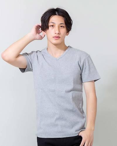 スパンテレコVネック半袖Tシャツ(グレー)