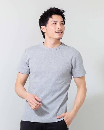 スパンテレコUネック半袖Tシャツ(グレー)