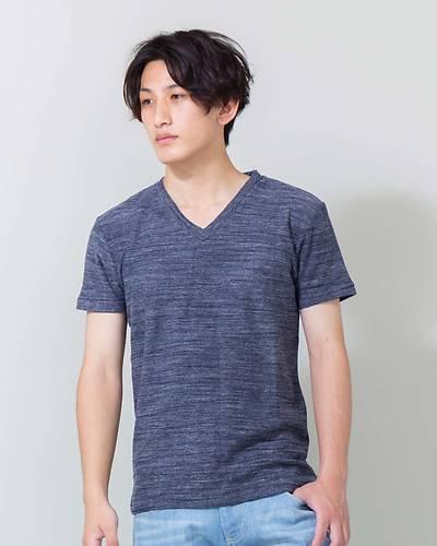 変形裏毛Vネック半袖Tシャツ(ネイビー)