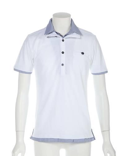 フェイクレイヤード半袖ポロシャツ(オフホワイト)